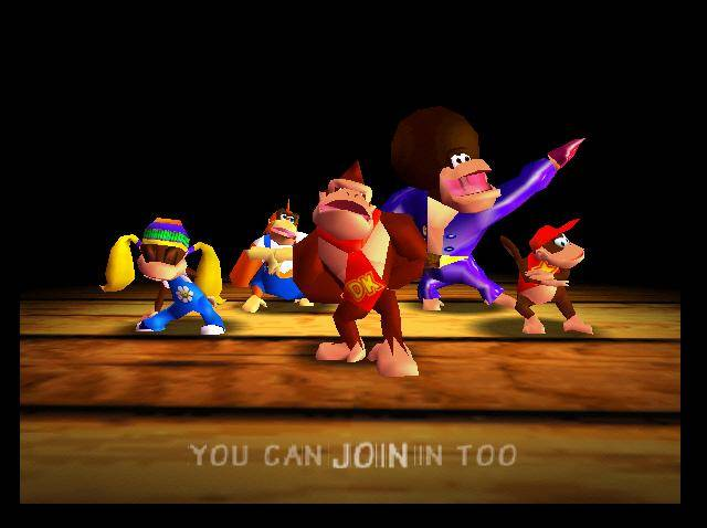 Picture of all 5 Kongs during Donkey Kong 64 Rap