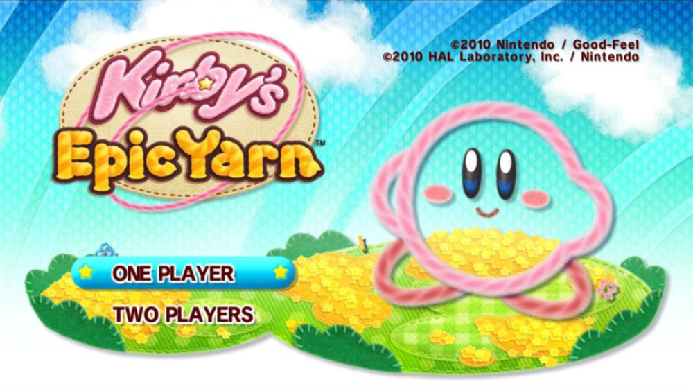 Kirby's Epic Yarn Title Screen