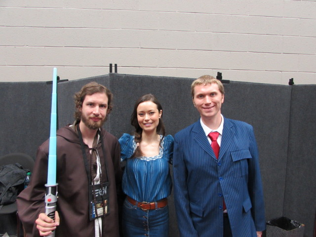Eric and Nathan posing with Summer Glau.