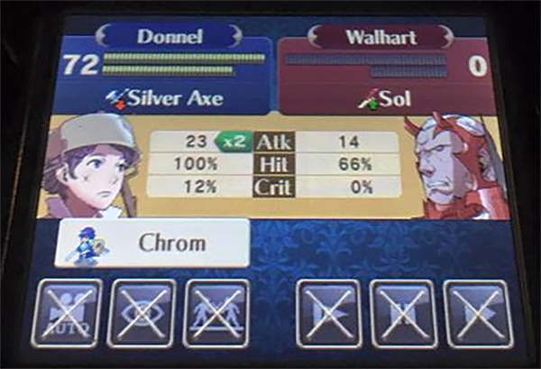 "That guy on the right is the ""conqueror of worlds."" Notice that he has 0 HP and didn't scratch Donnel."